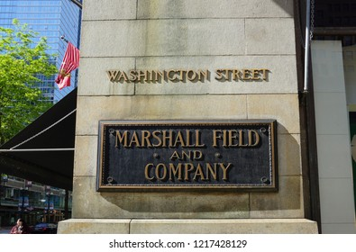 Chicago, IL, USA, May 24, 2018 - Sign for Marshall Field and Co (now known as Macys on State Street) on Washington Street in the Loop commercial district.