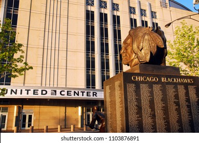 Chicago, IL, USA May, 29 2012 A monument outside of the United Center in Chicago honors those who have donned a Chicago Blackhawks jersey