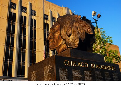 Chicago, IL, USA May 29, 2012 The alumni of the hockey Blackhawks are honored with their names on a sculpture outside of the United Center, their home in Chicago
