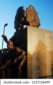 Chicago, IL, USA May 29, 2012 A statue at the United Center in Chicago honors those who wore a Blackhawks jersey in their history