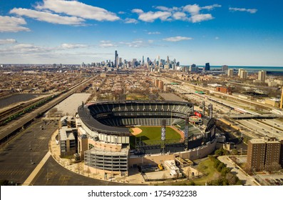Chicago, IL / USA - May 3, 2019: Aerial View of White Sox's Stadium with Chicago Skyline in Background