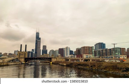CHICAGO, IL, USA- NOVEMBER 29, 2019:  Chicago skyline along Lake Michigan lakefront seen from south side