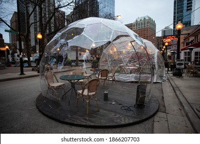 Chicago, Il, USA - November 30 2020: Outdoor dining in a bubble to promote social distancing.