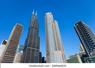 CHICAGO, IL, USA - November 8, 2017: Wide angle shot of various Chicago Skyscrapers including the Willis Tower (Sears Tower)