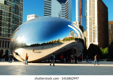 Chicago, IL, USA October 15, 2008 Cloud Gate, more commonly known as The Bean reflects the blue sky above Chicago's Millennium Park