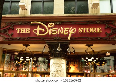 Chicago IL. /USA October 2 2019: Disney store shop sign on Magnificent Mile in downtown Chicago.