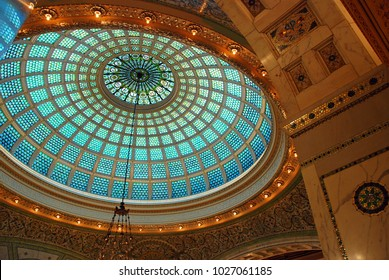 Chicago, IL, USA October 27, 2009 A Tiffany Stained Glass Ceiling hangs above the atrium at the Chicago Cultural Center.  It is reported to be the largest Tiffany made window in the world