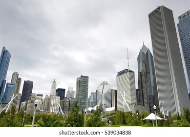 Chicago, IL, USA, october 27, 2016: A view of Chicago skyline and tall buildings in a cloudy day full with fog