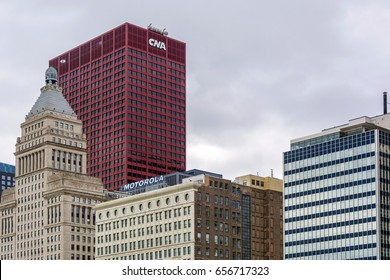 Chicago. IL, USA, october 27, 2016: The CNA Center in downtown Chicago, Illinois. The building was completed in the year 1972
