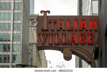 Chicago, IL, USA, october 27, 2016: exterior luminous sign of the Italian Village restaurant in the Chicago Loop area in Chicago