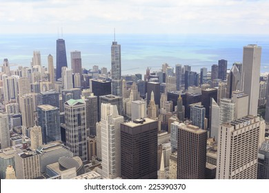 CHICAGO, IL, USA - OCTOBER 3, 2014: Aerial view of the downtown Chicago cityscape from Willis Tower in Chicago, IL, USA on October 3, 2014.