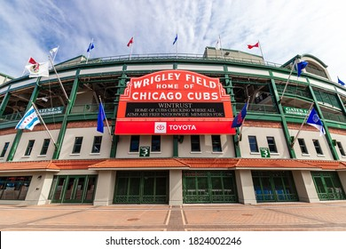 CHICAGO, IL, USA - SEPTEMBER 17, 2020: The exterior Major League Baseball's Chicago Cubs' Wrigley Field stadium in the Wrigleyville neighborhood of Chicago.