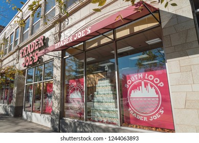 CHICAGO, IL, US-OCT 17, 2018: Entrance to Trader Joes's supermarket storefront near intersection in downtown. American privately held chain of specialty grocery stores, discount retailer, own by ALDI