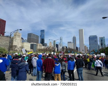 CHICAGO, IL-April 22, 2017. March for Science Chicago. Earth Day. A view of the crowd and cityscape from Columbus Drive.
