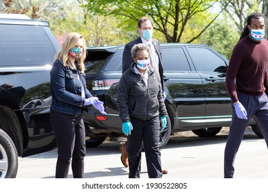 CHICAGO, ILL. USA MAY 16, 2020: DURING THE HEIGHT OF COVID 19 CHICAGO MAYOR LORI LIGHTFOOT ARRIVING AT A DRIVE THRU FRESH POULTRY GIVEAWAY ON THE CITY SOUTH SIDE, MARQUETTE PARK 6700 S. KEDZIE