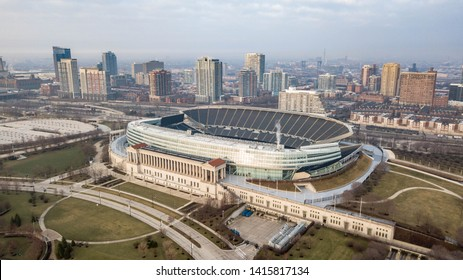 Chicago, Illinois - 01 April 2019: Soldier Field, lakeside home to the Chicago Bears football team