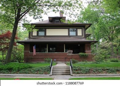 Chicago, Illinois - 05/04/2015: William Adams Residence. Architect Frank Lloyd Wright. Built 1900.