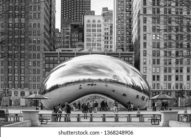 Chicago, Illinois - 14 Sept 2018: Chicago Bean in with tourists in black and white