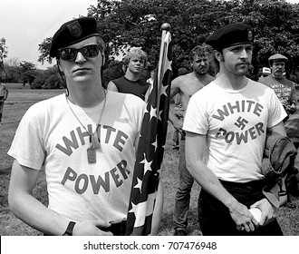 Chicago, Illinois, 28Th June, 1986 KKK members and a white supremacist group the America First Committee, hold a rally in  Marquette park.