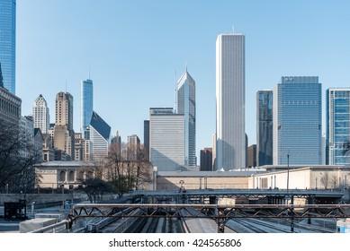 CHICAGO, ILLINOIS - APRIL 17, 2016: Chicago Cityscape with railway.
