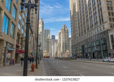 CHICAGO, ILLINOIS - April 23,2018 : The view of North Michigan Avenue of Downtown Chicago,USA on April 23,2018.