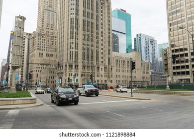 CHICAGO, ILLINOIS - April 23,2018 : The view of Chicago's famous Tribune Tower on Michigan Ave in Chicago,USA on April 23,2018.