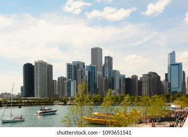 CHICAGO, ILLINOIS - AUGUST 22, 2015: Chicago Skyline seen from Navy Pier on Lake Michigan.