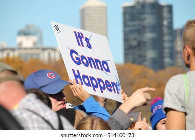 CHICAGO, ILLINOIS -- Cubs fans flood into Grant Park, November 4, 2016, to celebrate the Wold Series victory of the beloved underdogs who clinched the title for the first time in 108 years.