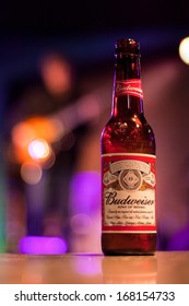 CHICAGO, ILLINOIS - DECEMBER 20, 2013: Budweiser is served in 12 oz bottles in Buddy Guy's Legends blues club in Chicago on Wabash Avenue