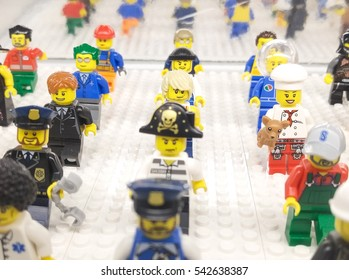 Chicago, Illinois December 25, 2016 : Clean and Nice Image of group of Lego mini figure