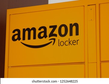 Chicago, Illinois- December 7, 2018: Amazon Locker service for easy and convenient pick up in downtown Chicago.