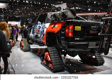 Chicago, Illinois - February 12, 2019: A GMC all terrain truck at the anual Chicago auto show.