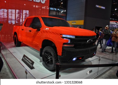 Chicago, Illinois - February 12, 2019: A Chevrolet Silverado made out of LEGO blocks at the anual Chicago car show.