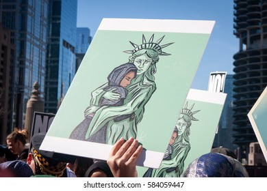 CHICAGO, ILLINOIS - FEBRUARY 19, 2017: Chicago marks the one-month anniversary of the Donald Trump administration with a rally and march to stop the Trump agenda.