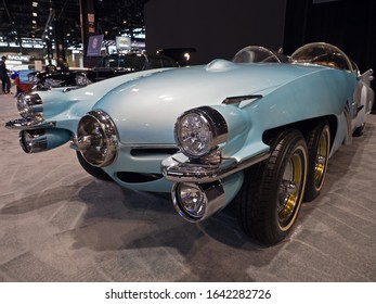 CHICAGO, ILLINOIS - February 8, 2020: Six wheeled 1950 Studebaker Ice Princess vintage car displayed at McCormick Place at the annual Chicago Auto Show