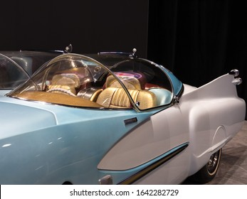 CHICAGO, ILLINOIS - February 8, 2020: Closeup of the custom 1950 Studebaker Ice Princess vintage car displayed at McCormick Place at the annual Chicago Auto Show