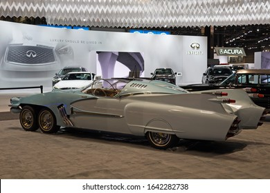 CHICAGO, ILLINOIS - February 8, 2020: Side view of the six wheeled 1950 Studebaker Ice Princess vintage car displayed at McCormick Place at the annual Chicago Auto Show