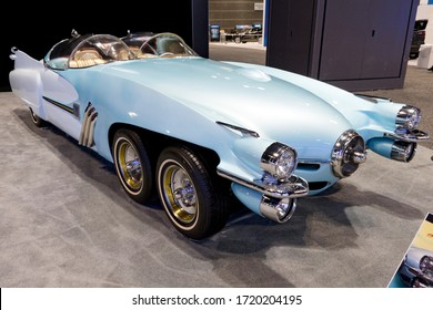 "CHICAGO, ILLINOIS - February 8, 2020: 1950 Studebaker XF58 ""Ice Princess"" six-wheeled retro car at the annual International Auto-show"