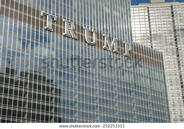 CHICAGO, ILLINOIS - January 24, 2015: The Trump International Hotel and Tower, a skyscraper condo-hotel in downtown Chicago, Illinois  named after billionaire real estate developer Donald Trump