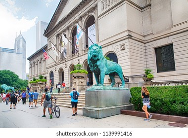 CHICAGO, ILLINOIS - JUL 15, 2018: The Art Institute of Chicago is an encyclopedic art museum on July 15, 2018 in Chicago, Illinois, USA.