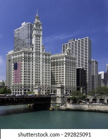 CHICAGO, ILLINOIS - JULY 1: Wrigley Building on Michigan Avenue on July 1, 2015 in Chicago, Illinois