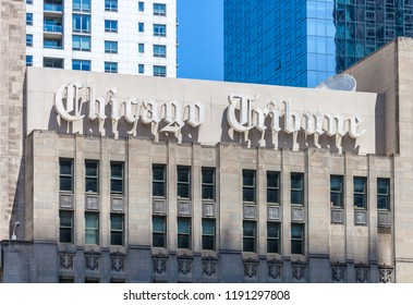 CHICAGO, ILLINOIS - JULY 10, 2018 - The Chicago tribune building located in downtown Chicago