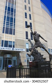 Chicago, Illinois - July 15,  2013: Michael Jordan's statue outside the United Center arena.