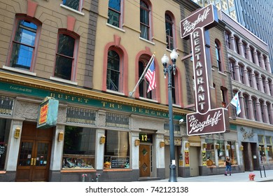 Chicago, Illinois - July 16, 2017: The Berghoff Restaurant on West Adams Street, The Loop district, Chicago, Illinois, USA. Was opened in 1898 by Herman Joseph Berghoff.