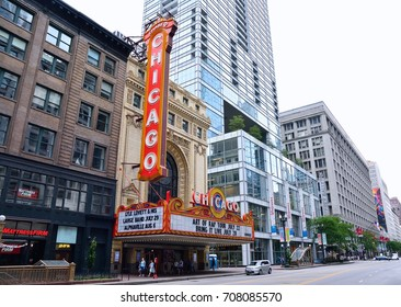 CHICAGO, ILLINOIS - JULY 16: The famous Chicago Theater on State Street on July 16, 2017 in Chicago, Illinois. Opened in 1921, the theater was renovated in the 1980's.