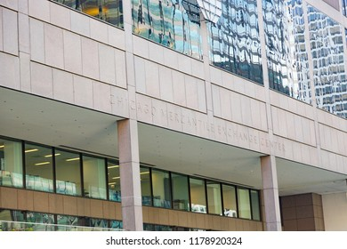 """Chicago, Illinois - July 17, 2018 :The Chicago Mercantile Exchange (CME) (often called """"the Merc"""") is an office building housing the world's largest options and futures exchange."""