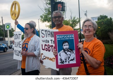 Chicago, Illinois - June 13, 2016: Southsiders For Peace held a vigil to grieve and honor the victims in Orlando, following the mass shooting at Pulse LGBTQ nightclub.