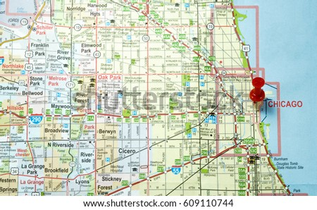 Chicago Illinois Map Stock Photo Edit Now 609110744 Shutterstock