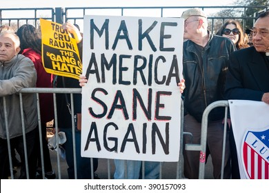 CHICAGO, ILLINOIS - MARCH 11, 2016: Anti-Trump protesters stand in opposition to Donald Trump's hate-speech outside the University of Illinois at Chicago Pavilion during the Pro-Trump Rally.