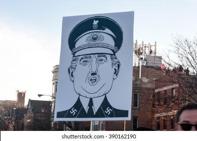 Chicago, ILLINOIS - MARCH 11, 2016: Protest sign depicts Donald Trump as Nazi at Anti-Trump demonstration outside the University of Illinois at Chicago Pavilion.